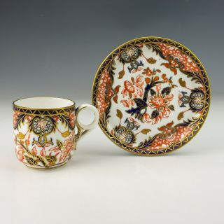 Antique Royal Crown Derby Porcelain Imari Cup & Saucer -