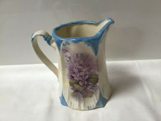 Antique European Ceramic Pitcher/flower Pot Hand Painted Purple Violets/signed