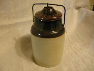 1892 ? Antique Stoneware Crock Pickle Jar With Bail Wire Top By The Weir No2