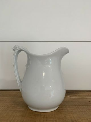White Ironstone Pitcher Warranted Ironstone China John Edwards