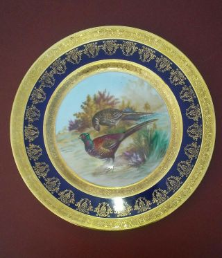 Limoges France Hand Painted,  Pheasants,  A.  Pervot Limoges Frange
