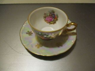 Bavarian Cup & Saucer Sitting On Bench In