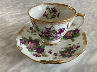 Vtg Floral Teacup Saucer Set China Gold Scallop Flowers Porcelain Purple Vintage