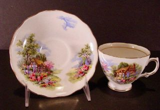 Royal Vale Bone China Teacup & Saucer Gold Trim England Thatched Cottage