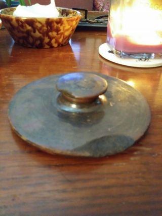 Antique Stoneware Lid W/ Brown Glaze