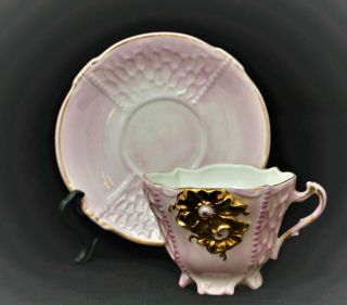 Vintage Porcelain Demitasse Cup And Saucer Pink Gold