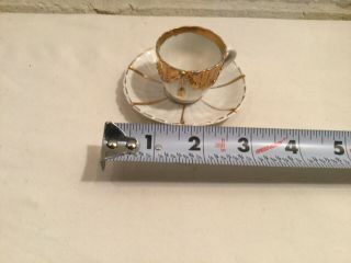 Antique Miniature Tea Cup & Saucer White & Gold China Mini Set Numbered