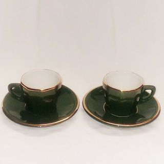 Vintage Apilco Porcelain Espresso Cups & Saucers Green W/ Gold France - Set Of 2