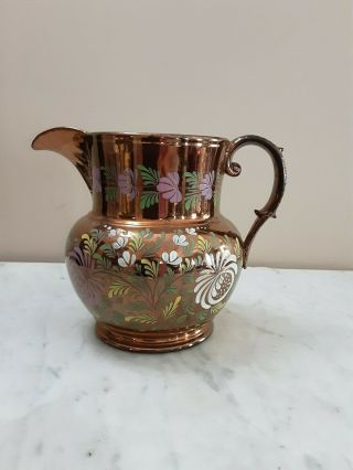 "Large Antique Staffordshire Copper Luster Handpainted 7 "" Pitcher"