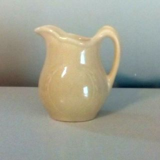 Antique Glazed Yellow Pottery Spouted Jug/cream/buttermilk Pitcher 1940