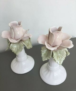 Vintage Casa Pupo Candle Sticks Pair Made In Italy Ceramic Floral Delicate