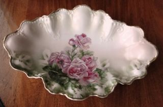 "C.  T.  Germany Hand Painted Large Porcelain Scalloped Oval Bowl - Antique 14 "" Roses"