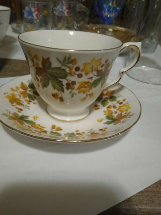 "Queen Anne England 8606 Medina Autumn Leaves 2 3/4 "" Cup And Saucer Set"