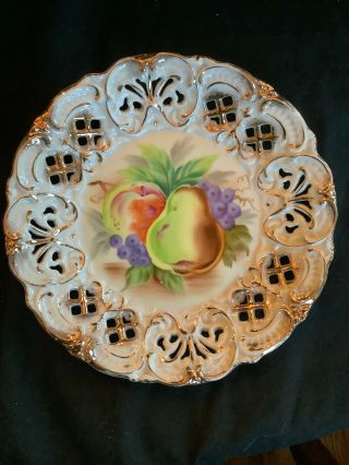 "Vintage Fenton Reticulated Gold Edged Porcelain 8"" Plate Fruit Hand Painted"