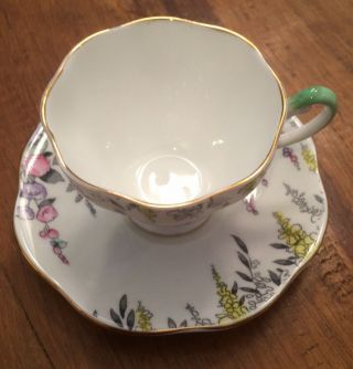 Hand Painted Scenic Floral Delphiniums - Tea Cup & Saucer - Foley China - England