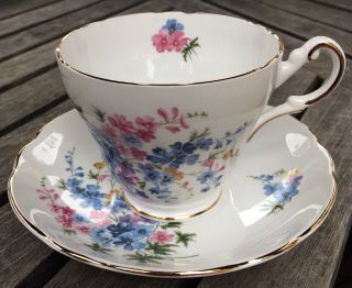 Regency English Forget Me Not Blue Flowers Tea Cup & Saucer Bone China England