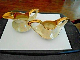 Pearl China Co Mother Of Pearl 22k Gold Trim Cream & Sugar Bowl Marked On Bottom