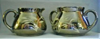 Antique Gibson Staffordshire England,  Silver Lusterware China,  Creamer & Sugar