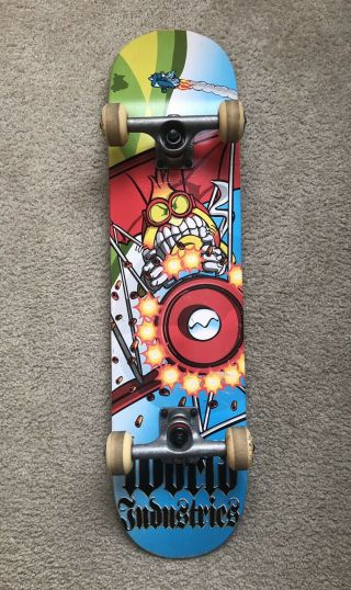 "Rare Vintage World Industries Red Baron Flameboy Deck 7.  50"" Skateboard Complete"