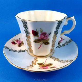 Pretty Blue And Pink Roses Royal Grafton Tea Cup And Saucer Set