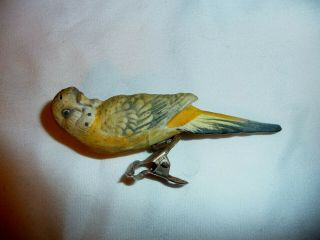 Antique Porcelain Or Ceramic Parrot Bird Clip On Christmas Tree Ornament