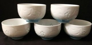 5 Vintage Asian Ceramic Rice Bowls Unknown Asian Mark Transparent Flowers