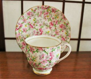 Royal Standard Teacup And Saucer May Medley Pink Chintz Pattern Floral