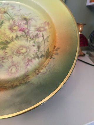 Antique Bavaria Hand Painted Daisy Flowers Pale Green Yellow W Gold Trim Plate