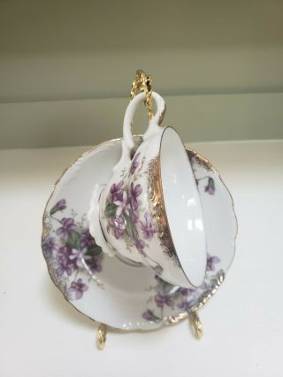 Vintage Teacup And Sauceer With Purple Violets And Gold Trim