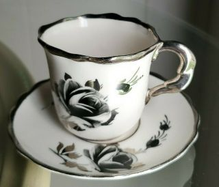 Rare Find Stafford Bone China Demitasse Cup & Saucer.  Black And Silver Rose