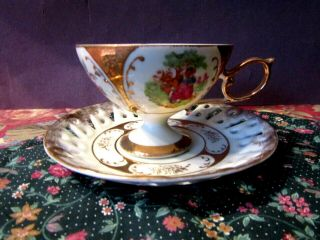 Vintage Classica 22 Carat Gold Plated Hand Painted Tea Cup & Saucer