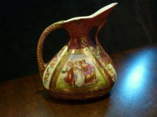Gilded Gold Trimmed Porcelain Ewer Pitcher - Victorian Ladies - Austria Beehive Mark