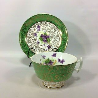 Green Tea Cup Saucer Phoenix Bone China Gold Chintz Overlay Wide Mouth England