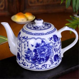 Handmade Blue And White Ceramic Teapot Large - Capacity Home Insulated Teapot 1.  6l