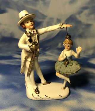 Ex Rare Antique Camille Naudot Spinning Ballerina & Magician Figurine France Guc