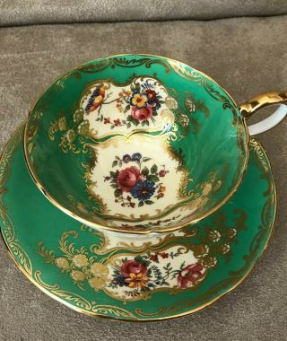 Antique Rare Aynsley C1934 Green Gold Gilt Floral Rose Teacup And Saucer