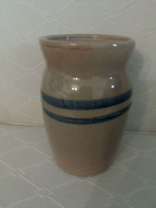 Vintage Stoneware Crock With Blue Strips 6 Ins.  Tall