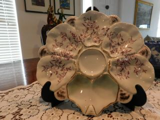 """(1) Vintage Oyster Plate White With Red And Gold Wells 10 """""""