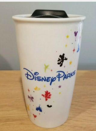Retired Rare Disney Starbucks Theme Parks Coffee Ceramic 12oz Tumbler Cup & Lid