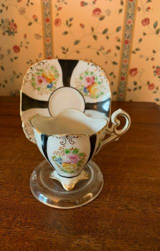 Hand Painted Japanese Teacup Black And White Pattern