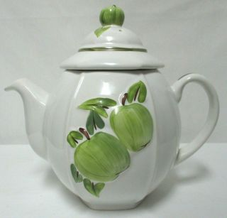Carlton Ware England Green Apples 3 - D Teapot With Strainer Ceramic Rare