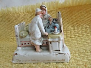 """Antique German Fairing Porcelain Figurine - """" Last In Bed To Put Out The Light """""""