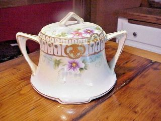 Antique Hand Painted Biscuit Jar With Lid= Very Pretty