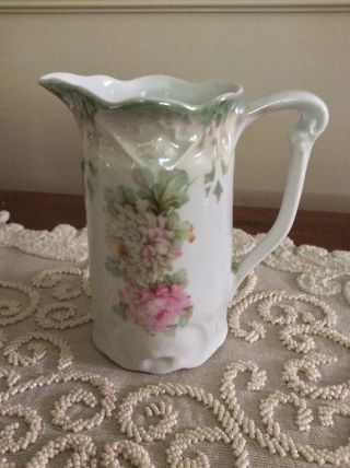 "Antique 5"" Pitcher Lustre Green & Pink Flowers,  Mv Co.  Germany"