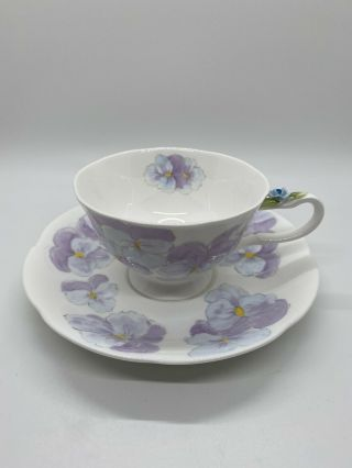 Vintage Purple Pansies Tea Cup And Saucer By Maruri Bone China Scalloped Edges