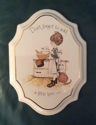 Vintage Holly Hobbie Ceramic Wall Plaque Don't Forget To Add A Little Love