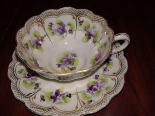 Cup & Saucer - White With Purple Flowers