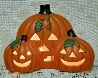 Vintage Ceramic Three Pumpkin Halloween Decor Lighted Rare Light Jol