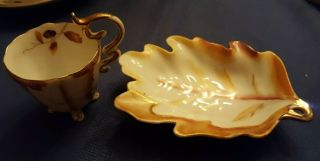 Ucagco China Small Mini Tea Cup Saucer Made In Occupied Japan Footed Leaf