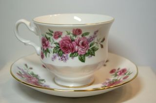 Tea Cup & Saucer Bunches Of Pink Roses & Tiny Lavender Flowers Queen Anne Eng.